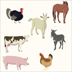 Set of farm animals.