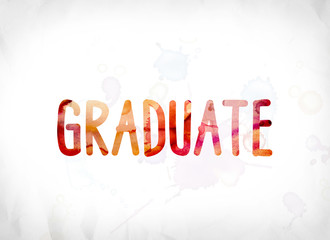 Graduate Concept Painted Watercolor Word Art