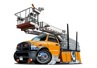 Vector Cartoon Platform Lift Truck. Available EPS-10 separated by groups and layers with transparency effects for one-click repaint