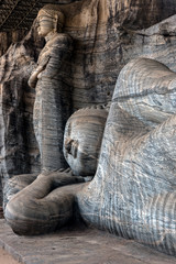 The Ancient and World Renowned Reclining Buddha Statue  showing Peace and tranquility at Gal Vihara in Polonnaruwa, seat of Buddhism in Sri Lanka