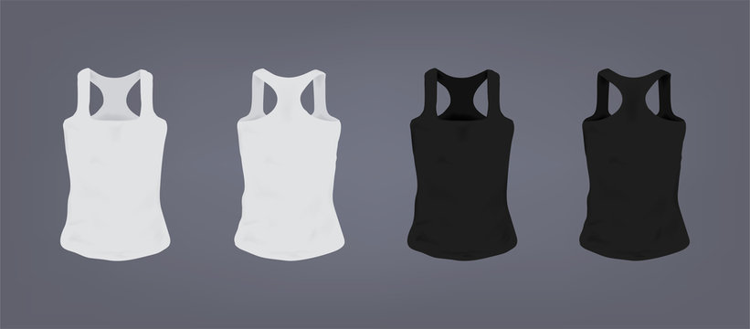 Set of realistic white and black unisex sports slim-fit t-shirt. Front and back view. Realistic vector illustration collection on gray background.