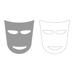 Theater mask  grey set  icon .