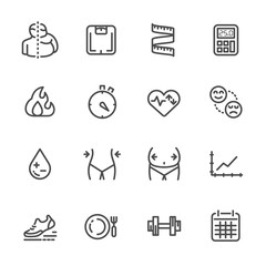 Measurement for obesity, its effects and lifestyle change for prevention. vector line icons