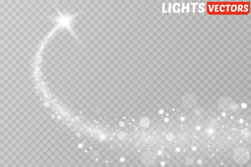 Light glow effect stars bursts with sparkles isolated on transparent background. Wall mural