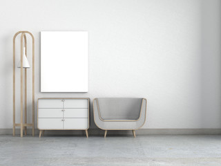 Modern Living room white wall and armchair with frame