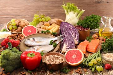 Tuinposter Eten selection of health food