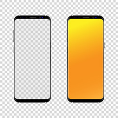 Smartphone black-gray color with transparent touch screen, isolated on a white background. Vector illustration