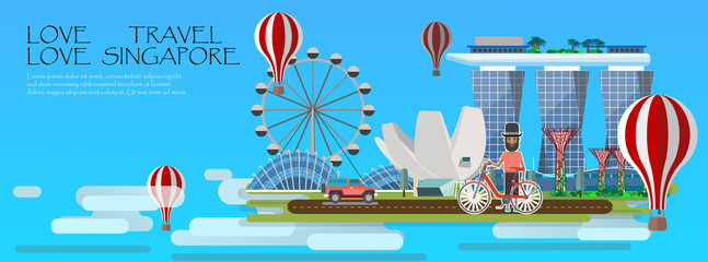 Travel infographic. Singapore infographic; welcome to Singapore. Travel to Singapore presentation template
