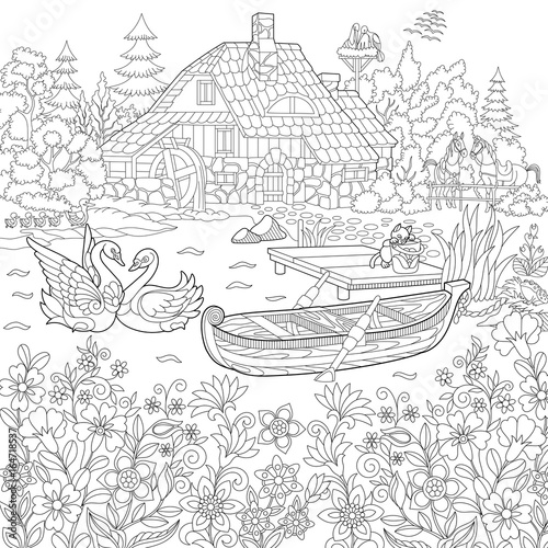 Coloring book page of rural landscape, flower meadow, lake ...