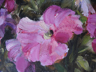 Abstract oil paint texture on canvas. Illustration for your design. Image petunias.