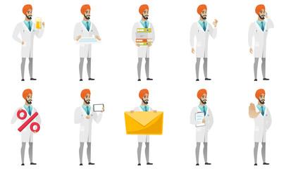 Muslim doctor vector illustrations set.