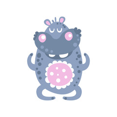 Cute cartoon Hippo character meditating vector Illustration
