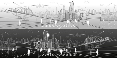 City infrastructure panorama. Ship in the port, railroad bridge, train rides, modern city in the background, people walk along the embankment. Light and dark lines, vector design art