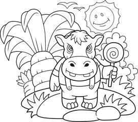Cartoon cute hippopotamus coloring book