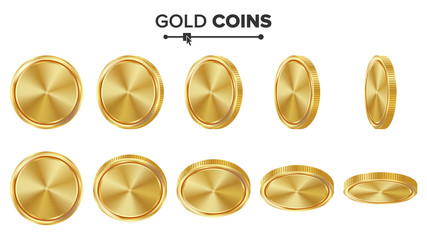 Empty Gold Coins Vector Set. Realistic Template Illustration. Flip Different Angles. Blank Money Front Side. Investment Concept. Finance Coin Icon, Sign, Success Banking Cash Symbol. Currency Isolated