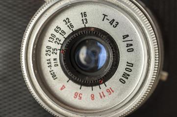 Close up shot of a vintage 35mm film camera