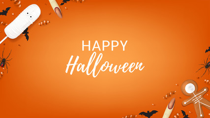 Halloween web banner with sweets. Top view on spiders, paper bats and confetti on orange backdrop. Vector illustration with cookies in form of skeleton gingerbread man. Cream cake in form of mummy.