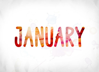 January Concept Painted Watercolor Word Art