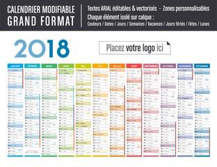 Calendrier 2018 modifiable - Grand format