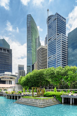 Foto op Plexiglas Singapore View of skyscrapers at downtown of Singapore. Scenic cityscape