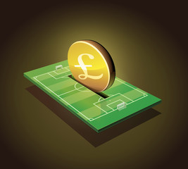 invest pounds in a football field (dark background)