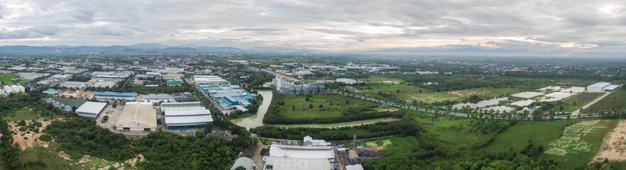 Aerial view of Industrial Estate northern thailand.Lamphun,thailand.
