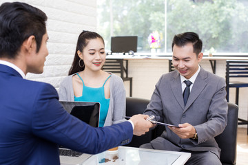 Asian people working at restuarant, People interview businessman for working job and sign contact, Portrait business concept, 20-30 year old.