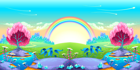 Landscape of dreams with rainbow