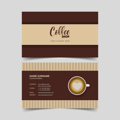 Coffee shop business card design template.