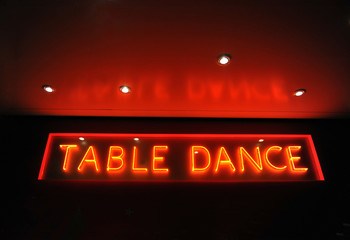 Neon Reklame, Table Dance, Kiez, St. Pauli, Reeperbahn, Hamburg, Deutschland, Europa - AS