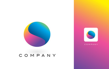 O Logo Letter With Rainbow Vibrant Beautiful Colors.O Colorful Trendy Letters Purple and Magenta Logo.