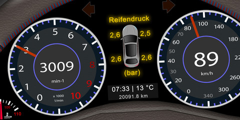 ps_11 ProgrammingScreen - Armaturenbrett / Kombiinstrument mit der Anzeige - Reifendruck Kontrollsystem (RDKS) - self-driving car illustration - 2to1 - g5306
