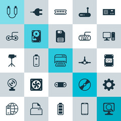 Computer Icons Set. Collection Of Computer Keypad, Camcorder, Network Structure And Other Elements. Also Includes Symbols Such As Usb, Movie, Accumulator.