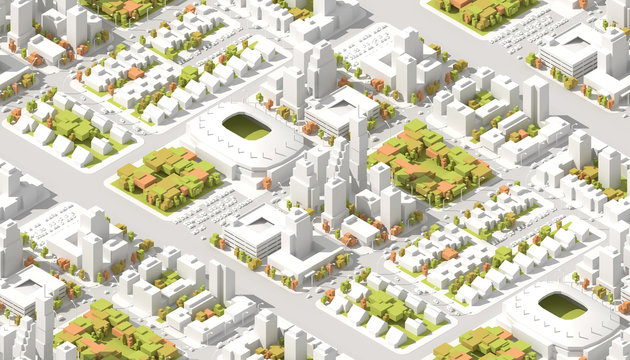 Architectural Isometric info graphic city streets with different buildings, houses, transport, shops and skyscrapers. 3D low poly style. Seamless texture.