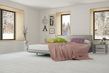 Idea of white bedroom with winter landscape in window. Scandinavian interior design. 3D illustration