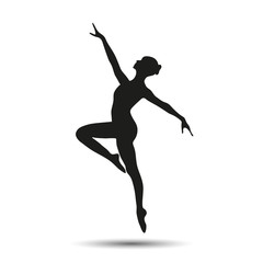 Silhouette of a girl dancer vector graphic