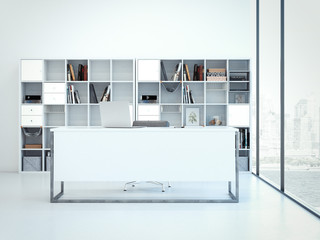 Office desk with laptop. 3d rendering