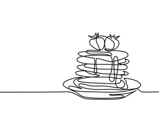 Continuous line drawing. Pancakes with strawberry jam on plate. Vector illustration black line on white background.