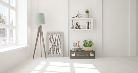 Inspiration of white empty room with winter landscape in window. Scandinavian interior design. 3D illustration