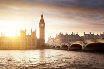 Fotomurales - Big Ben and Westminster at sunset, London, UK