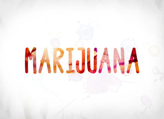 Marijuana Concept Painted Watercolor Word Art
