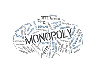 MONOPOLY - image with words associated with the topic MONOPOLY, word cloud, cube, letter, image, illustration