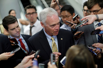 Senator Ron Johnson (R-WI) speaks with reporters about the withdrawn Republican health care bill on Capitol Hill in Washington
