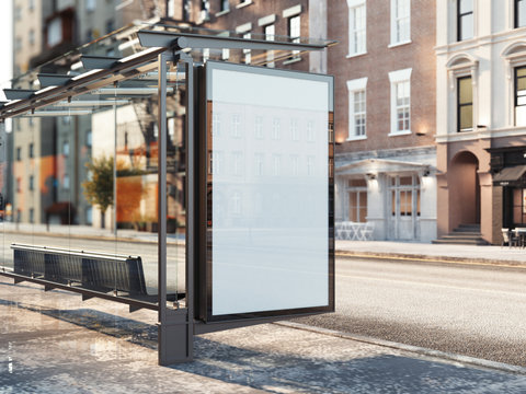 Bus station with blank banner. 3d rendering