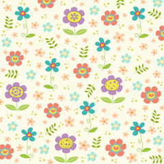 Doodle flowers background