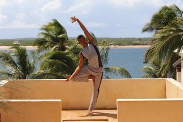 Yoga pose in Lamu