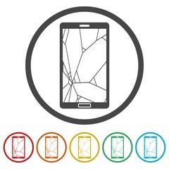 Broken Smart phone icons set - Illustration