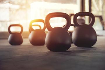 Closeup of kettlebell weight on gym floor