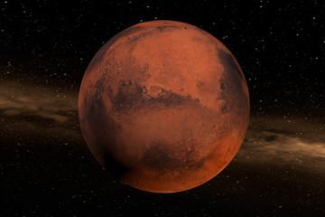 Der Mars im Weltall. Der Planet füllt die Mitte des Bildes. Im Hintergrund ein Nebel. Erstellt in 3D. Texturen der NASA