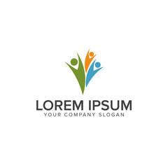happy people logo design concept template